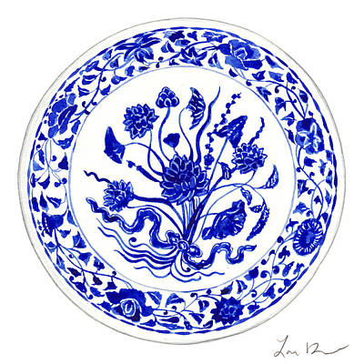 Chinese Calligraphy Painting - Blue And White Chinese Chinoiserie Plate 4 by Laura Row