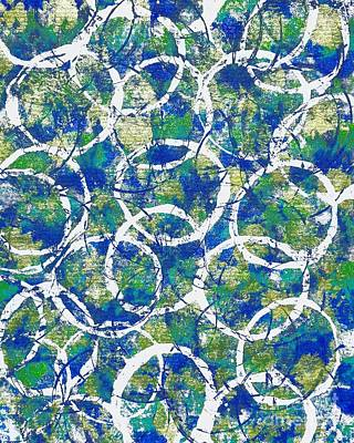 Mixed Media - Blue And White Circles Abstract by Patricia Strand