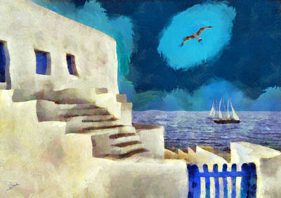 Santorini Painting - Blue And White by George Rossidis