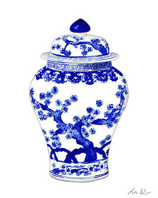 Melons Painting - Blue And White Ginger Jar Chinoiserie 10 by Laura Row