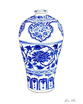 Antique Flowers Vase Wall Art - Painting - Blue And White Ginger Jar Chinoiserie 3 by Laura Row