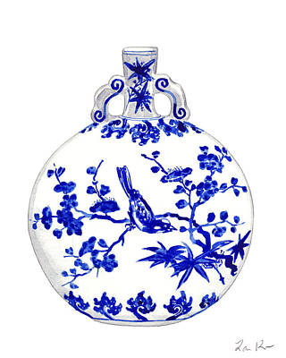 Pine Tree Painting - Blue And White Ginger Jar Chinoiserie 6 by Laura Row