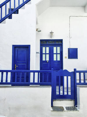 Mykonos Photograph - Blue And White by HD Connelly