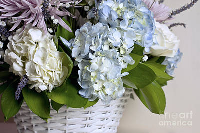 Photograph - Blue And White Hydrangea Arrangement by Cindy Garber Iverson
