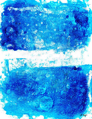 Drippy Painting - Blue And White Modern Art - Two Pools 2 - Sharon Cummings by Sharon Cummings