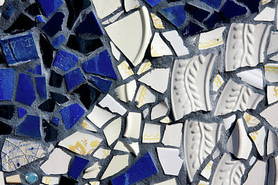 Photograph - Blue And White Mosaic Tiles by Jill Lang