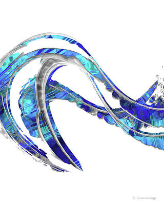 Painting - Blue And White Painting - Wave 2 - Sharon Cummings by Sharon Cummings