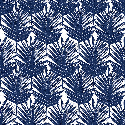 Designer Mixed Media - Blue And White  Palm Leaves 3 - Art By Linda Woods by Linda Woods