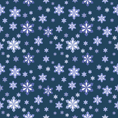 Digital Art - Blue And White Snowflake Pattern by Lynn-Marie Gildersleeve