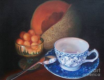 Painting - Blue And White Teacup And Melon by Marlene Book