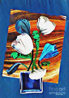 Mixed Media - Blue And White Tulips by Sarah Loft