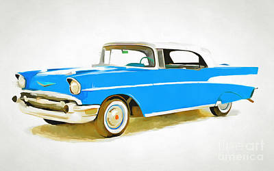 Painting - Blue And White Two Tone Classic American Car by Edward Fielding