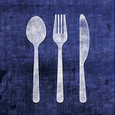 Mixed Media - Blue And White Utensils- Art By Linda Woods by Linda Woods