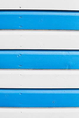 Cabin Wall Photograph - Blue And White Wood by Tom Gowanlock