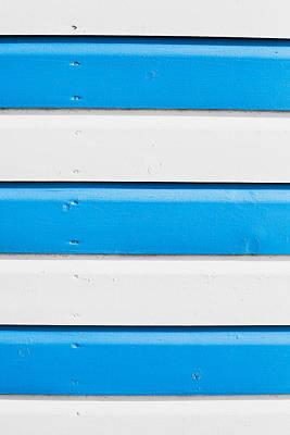 Blue And White Wood Art Print