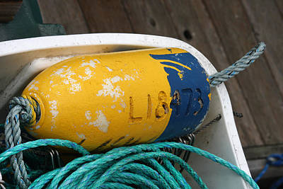 Blue And Yellow Buoy Art Print by Art Block Collections