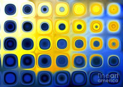 Blue And Yellow Circles  B Art Print by Patty Vicknair