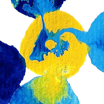 Abstract Forms Painting - Blue And Yellow Sea Interactions A by Amy Vangsgard