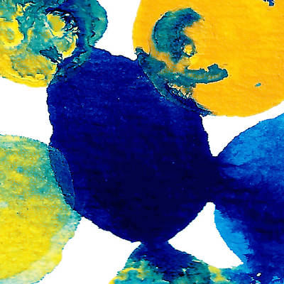 Abstract Forms Painting - Blue And Yellow Sea Interactions B by Amy Vangsgard
