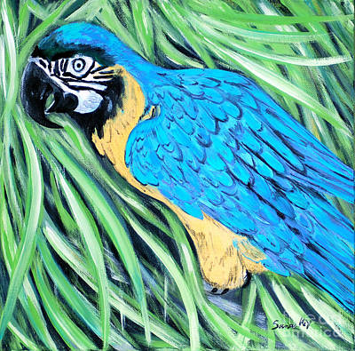 Painting - Blue And Yellow Macaw by Oksana Semenchenko