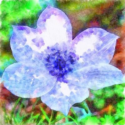 Painting - Blue Anemone Watercolor by Taiche Acrylic Art