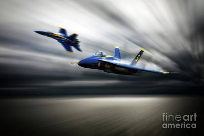 F-18 Digital Art - Blue Angel 5 by J Biggadike