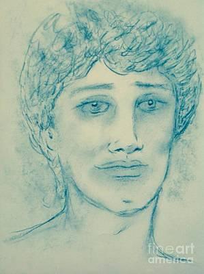 Angel Blues Drawing - Blue Angel by Joan-Violet Stretch