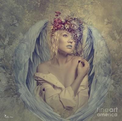 Digital Art - Blue Angel Of Serenity by Ali Oppy