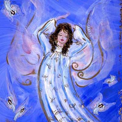 Blue Angel Waking Art Print by Rosemary Babikan