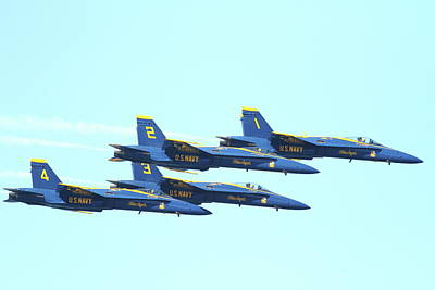 Jet Photograph - Blue Angels 4 Team Formation 4 by Wingsdomain Art and Photography