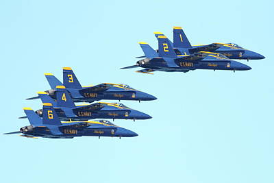 Jet Photograph - Blue Angels 5 Team Formation 3 by Wingsdomain Art and Photography