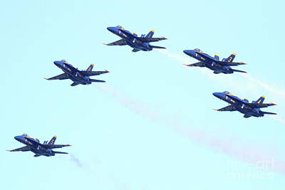 Blue Angels Photograph - Blue Angels 5 Team Formation by Wingsdomain Art and Photography