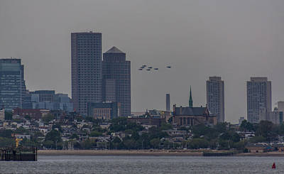 Photograph - Blue Angels Boston Flyover by Brian MacLean