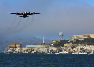 Photograph - Blue Angels C130 Fat Albert Passes Alcatraz by John King