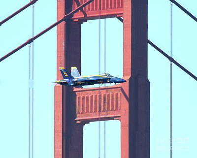 Blue Angels Crossing The Golden Gate Bridge 10 Art Print by Wingsdomain Art and Photography