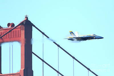Bay Area Photograph - Blue Angels Crossing The Golden Gate Bridge 2 by Wingsdomain Art and Photography