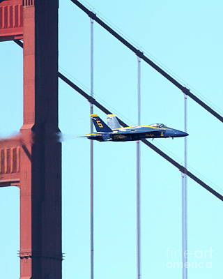 Blue Angels Crossing The Golden Gate Bridge 5 Art Print by Wingsdomain Art and Photography