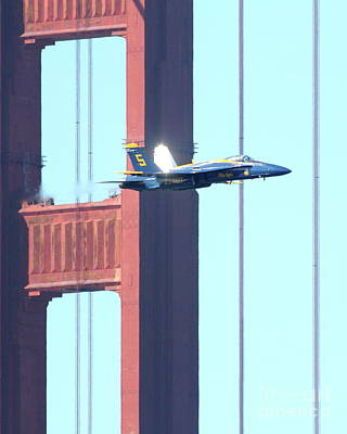 Jet Photograph - Blue Angels Crossing The Golden Gate Bridge 7 by Wingsdomain Art and Photography