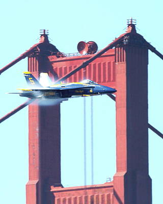 Jet Photograph - Blue Angels Crossing The Golden Gate Bridge 9 by Wingsdomain Art and Photography