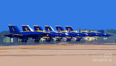 Hornet Painting - Blue Angels by David Lee Thompson