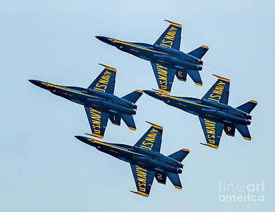 Photograph - Blue Angels Delta Formation by Nick Zelinsky