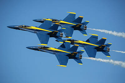F-18 Photograph - Blue Angels Diamond Formation by Adam Romanowicz