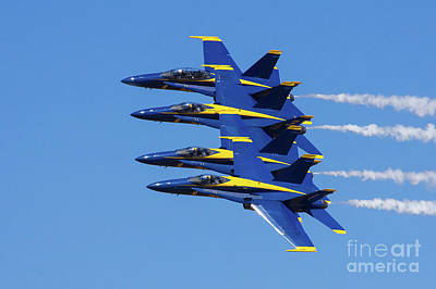 Photograph - Blue Angels Echelon 1 by Rick Bures