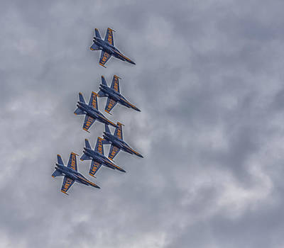 Photograph - Blue Angels Flyover Boston by Brian MacLean