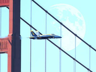Blue Angels Golden Gate And Moon Print by Wingsdomain Art and Photography