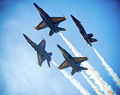 Photograph - Blue Angels In Formation by Ray Devlin