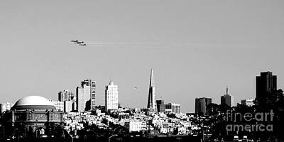 Blue Photograph - Blue Angels In San Francisco - Black And White by Wingsdomain Art and Photography