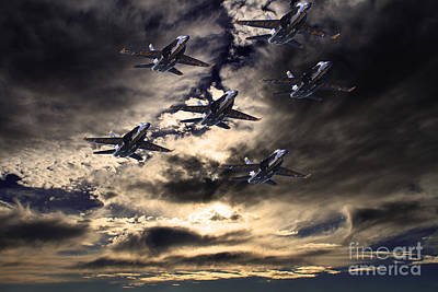 Blue Angels In The Sky Print by Wingsdomain Art and Photography