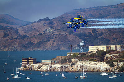 Photograph - Blue Angels Over Alcatraz by Bonnie Follett