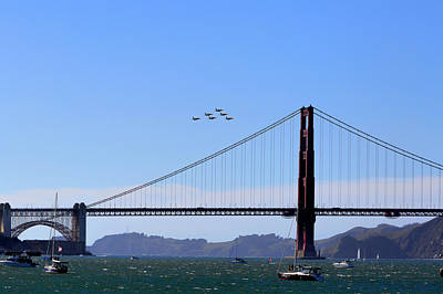 Photograph - Blue Angels Over Golden Gate Bridge by Patricia Sanders